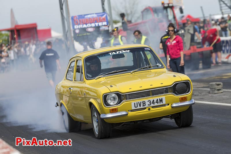 6e European Dragster ATD, Burn-out Ford Escort Yelow